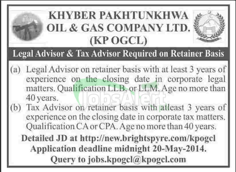Khber Pakhtunkhwa Oil & Gas Company Ltd Jobs for Legal Advisor