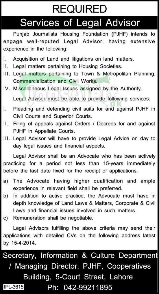 Legal Advisor Jobs in Punjab Journalists Housing Foundation LHR