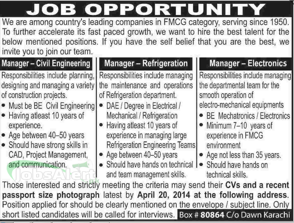 Manager Jobs 2014 in Leading Companies in FMCG Karachi