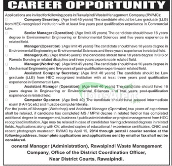 Manager Jobs 2014 in Rawalpindi Waste Management Company