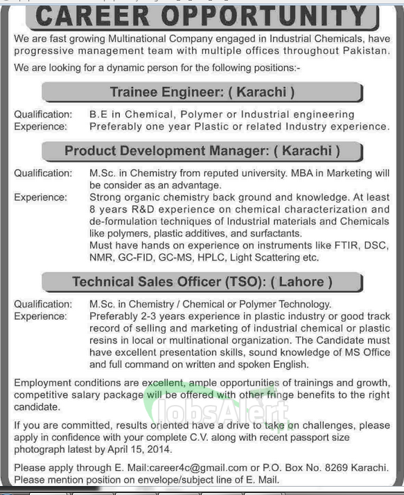 Manager & Sales Officer Jobs in Multinational Company Karachi
