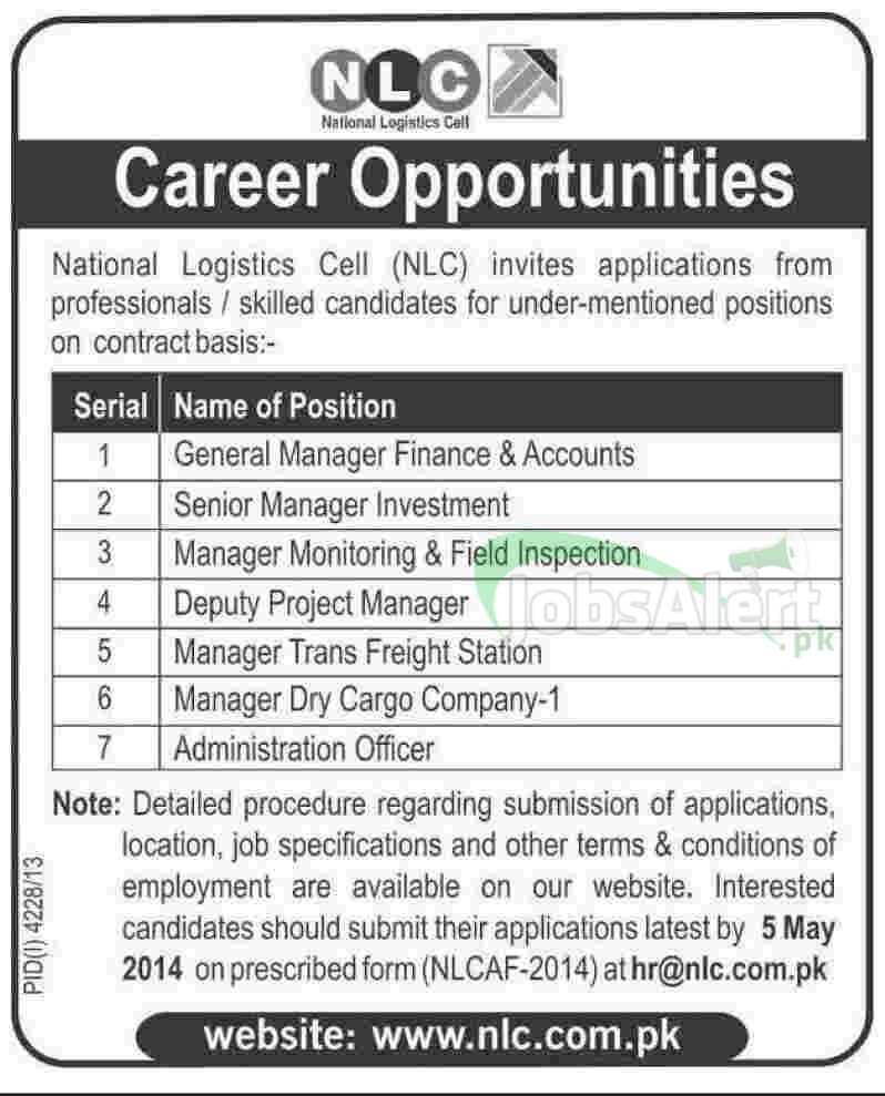 National Logistics Cell (NLC) Jobs for General Manager 2014