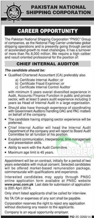 Pakistan National Shipping Corporation Jobs Auditor in Karachi