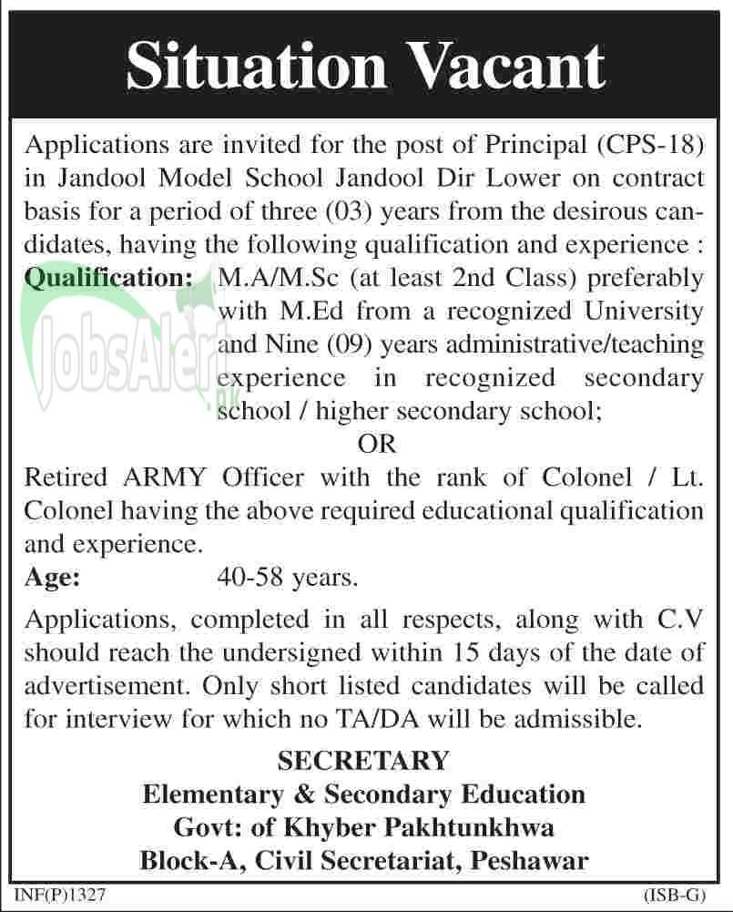 Principal Jobs in Jandool Model School Govt. of KPK 2014