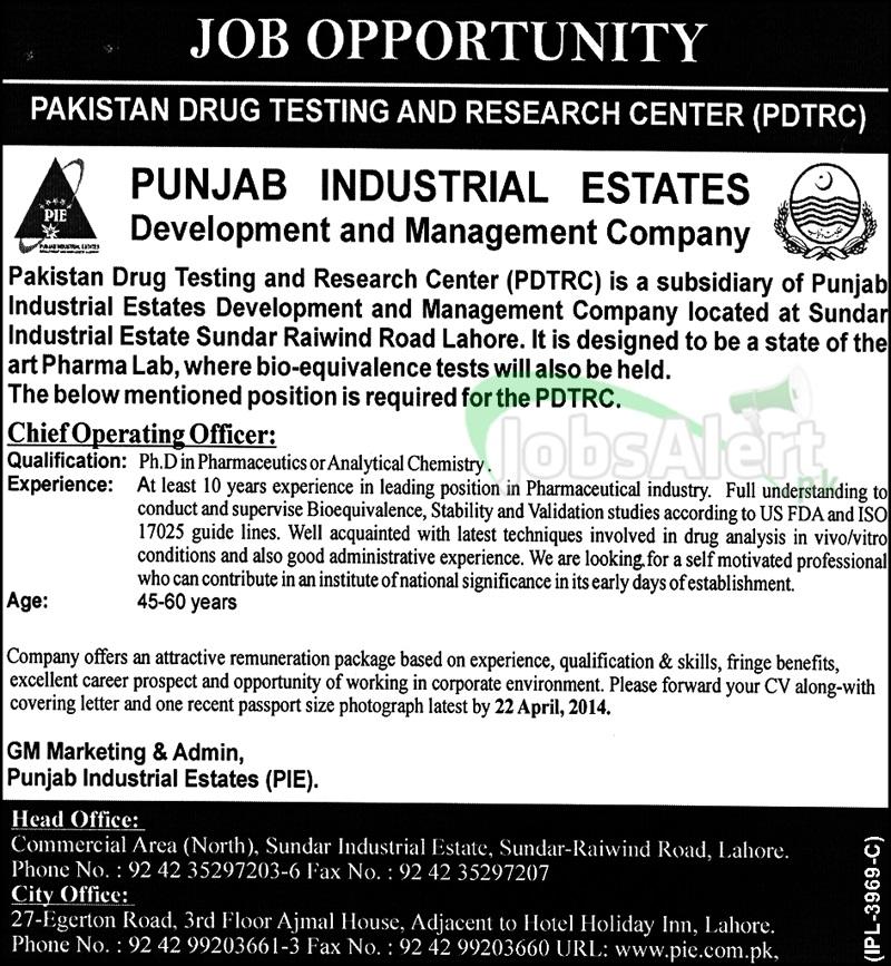 Punjab Industrial Estates Jobs 2014 Govt. of the Punjab LHR