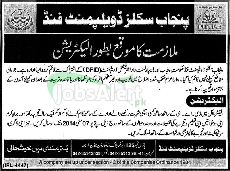 Punjab Skills Development Fund Jobs Govt. of Punjab LHR 2014