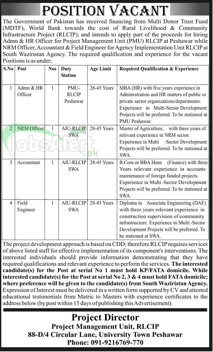 RLCIP Jobs for Accountant 2014 Government of Pakistan Peshawar
