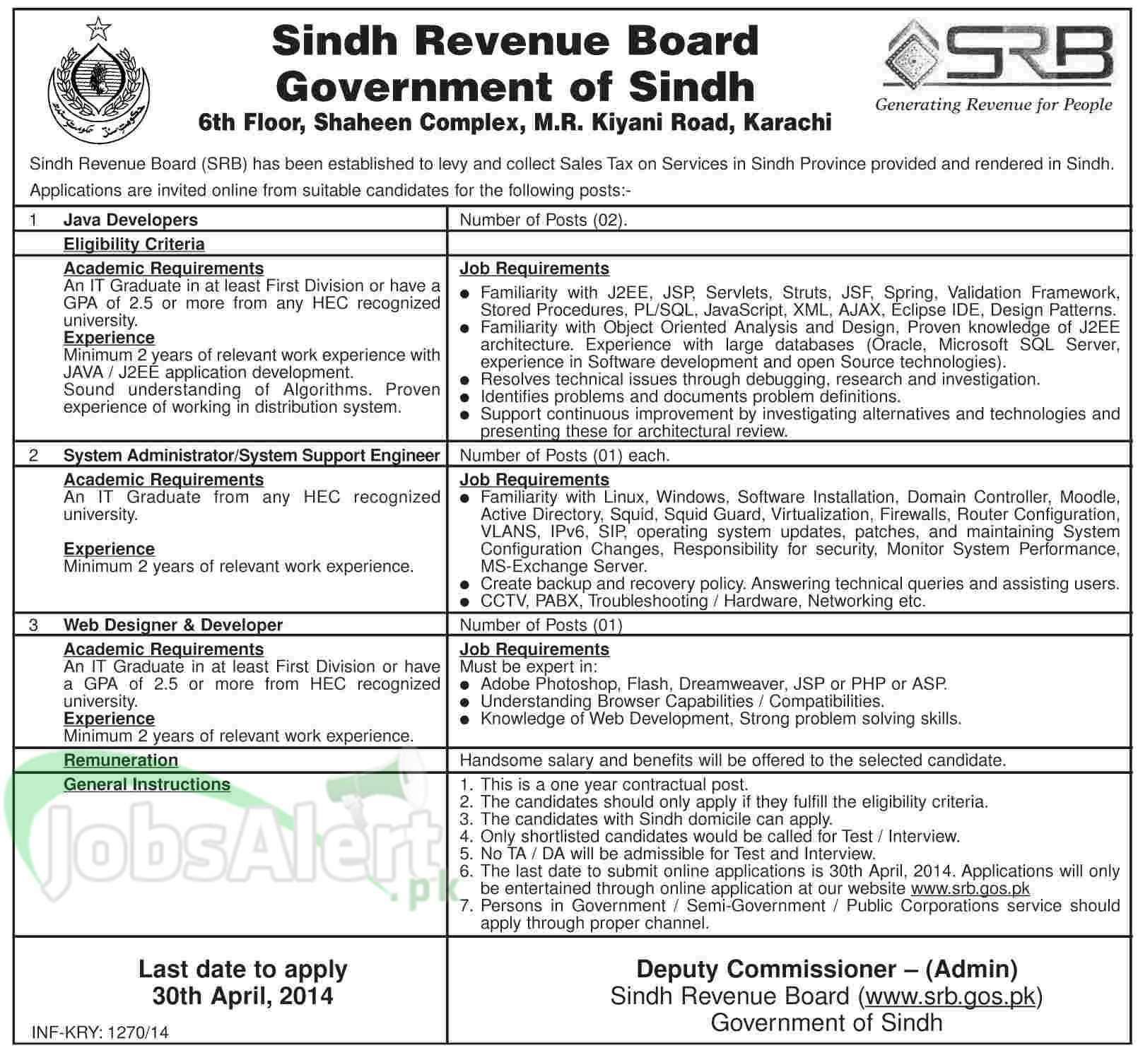 Sindh Revenue Board Jobs 2014 Government of Sindh Karachi