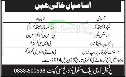 Teachers Jobs in Army Public School & College Sibi Cantt