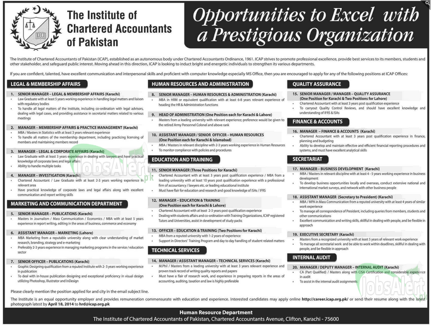 The Institute of Chartered Accountants of Pakistan Jobs 2014 KHI