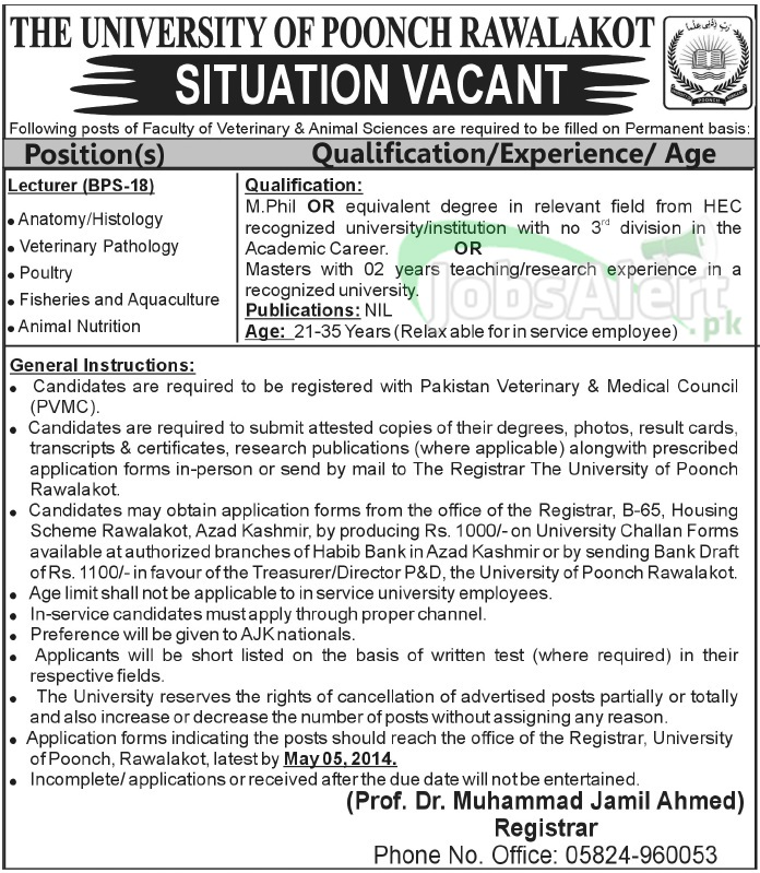 The University Of Poonch Rawalakot Jobs for Lecturer Azad Kashmir
