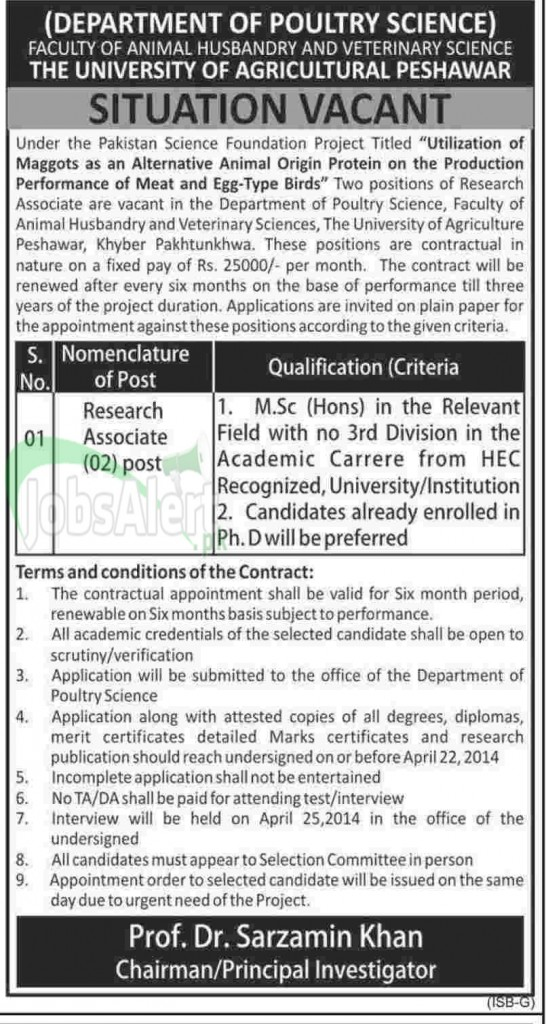 The University of Agricultural Peshawar Jobs Research Associate