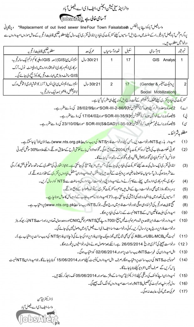 FDA Jobs 2014 Water And Sanitation Agency in Faisalabad
