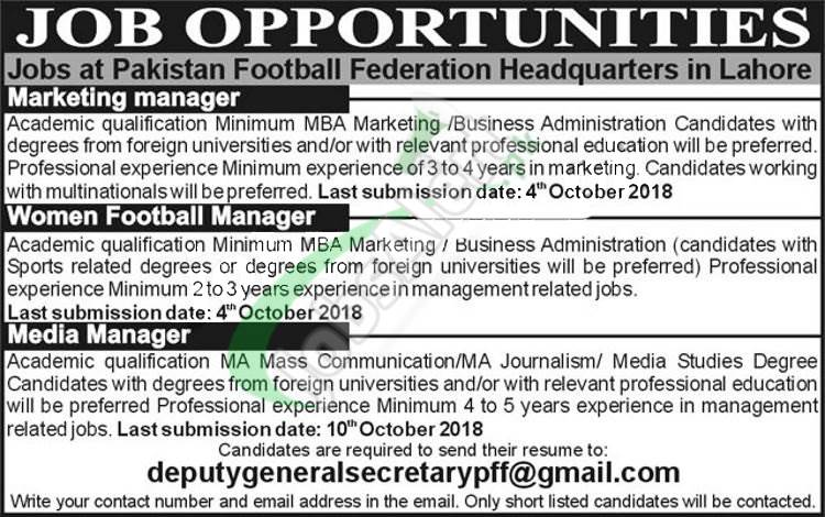 Pakistan Football Federation Jobs 2018