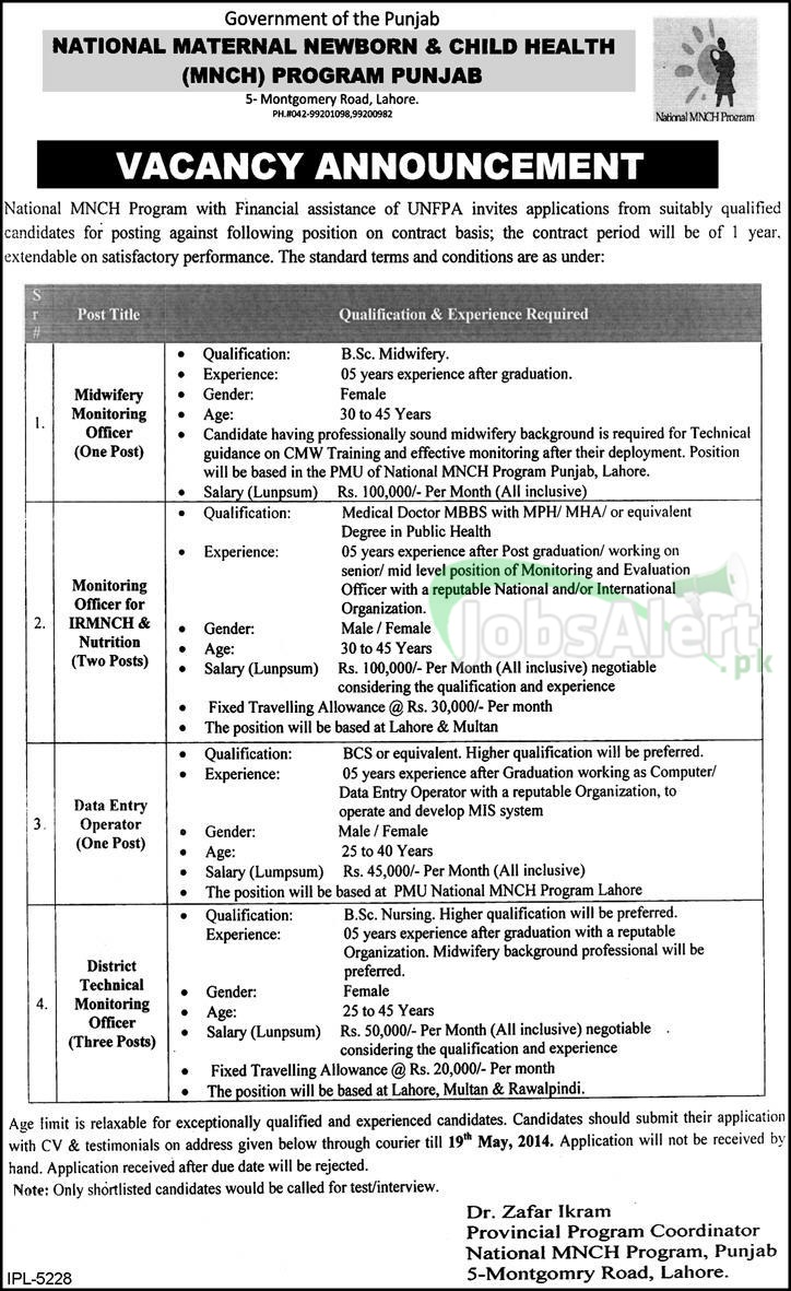 National MNCH Program Jobs 2014 Govt. of the Punjab Lahore