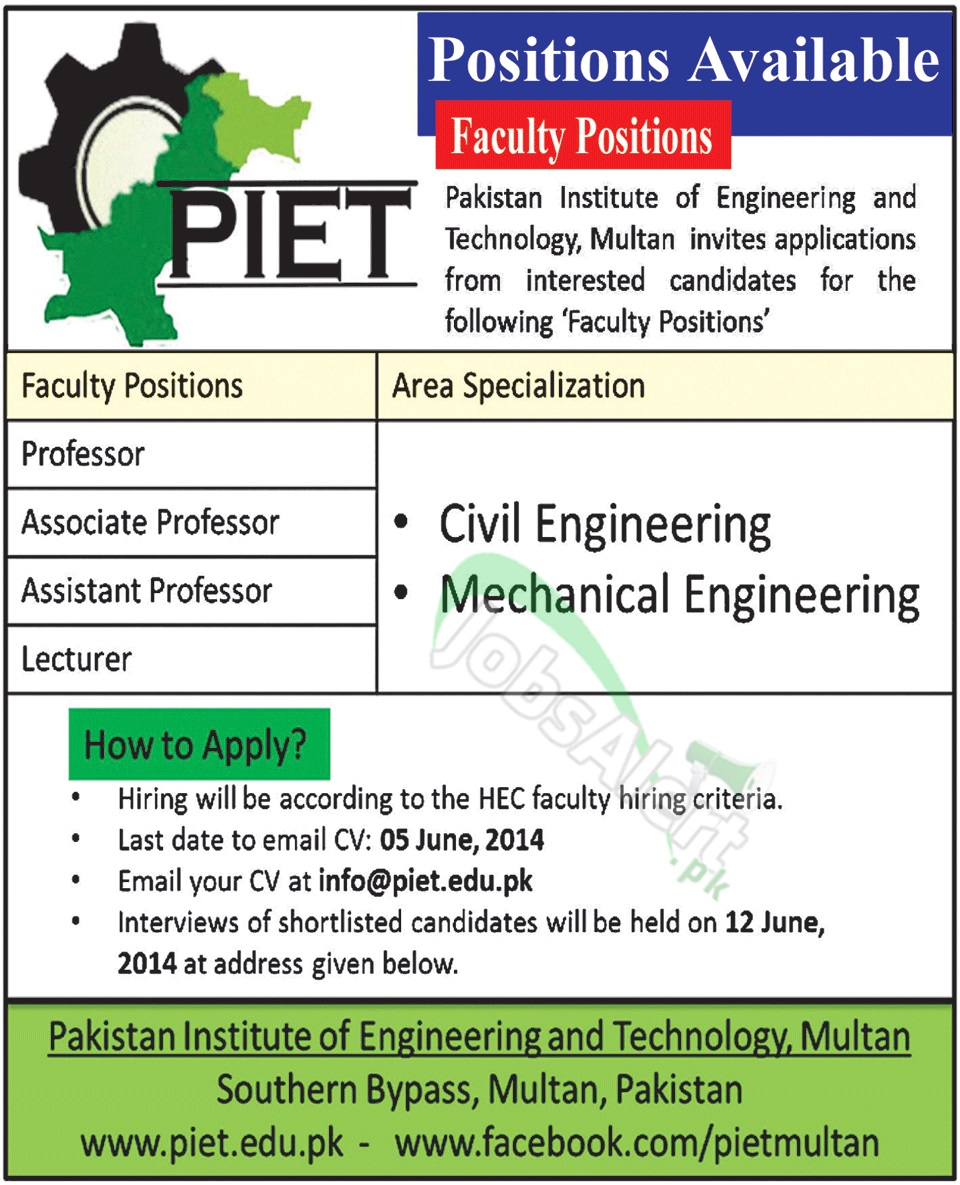 Pakistan Institute of Engineering and Technology (PIET)