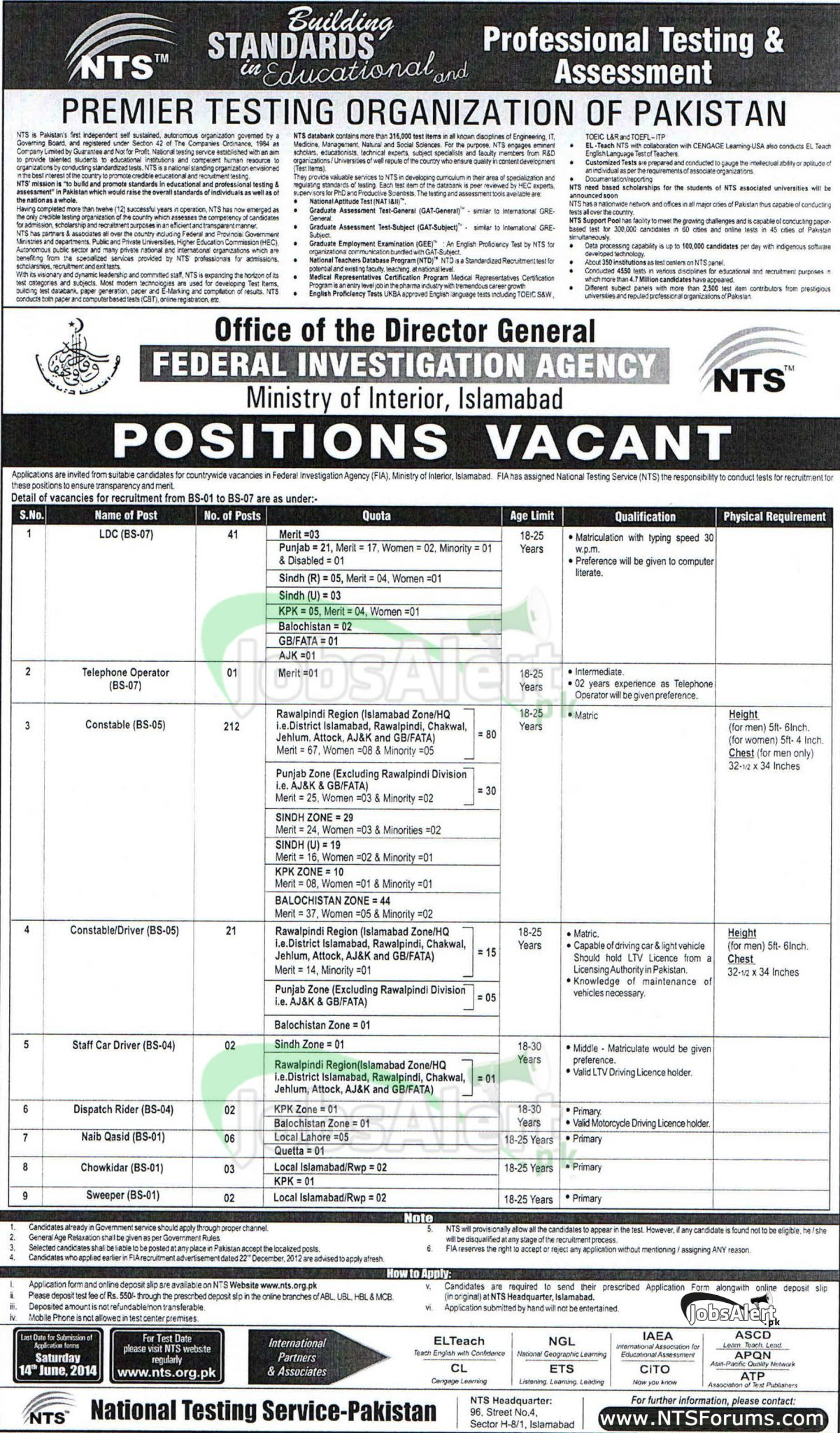 FIA Jobs 2014 NTS Test Download Application Forms