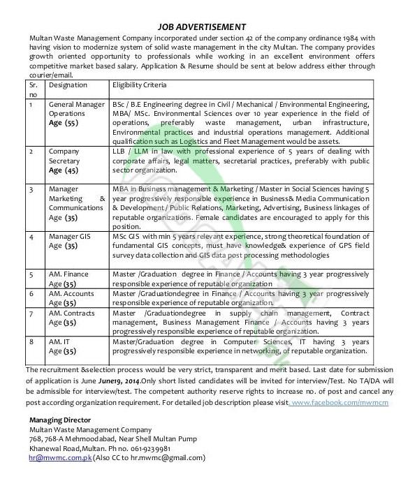 Multan Waste Management Company.