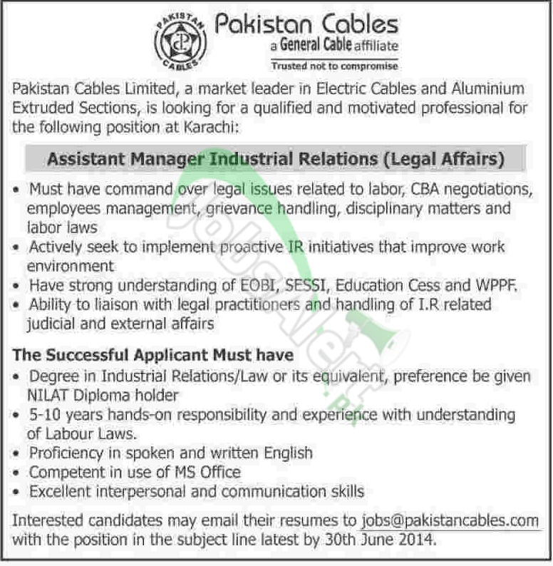 Pakistan Cables Limited Karachi Jobs Opportunities 2014