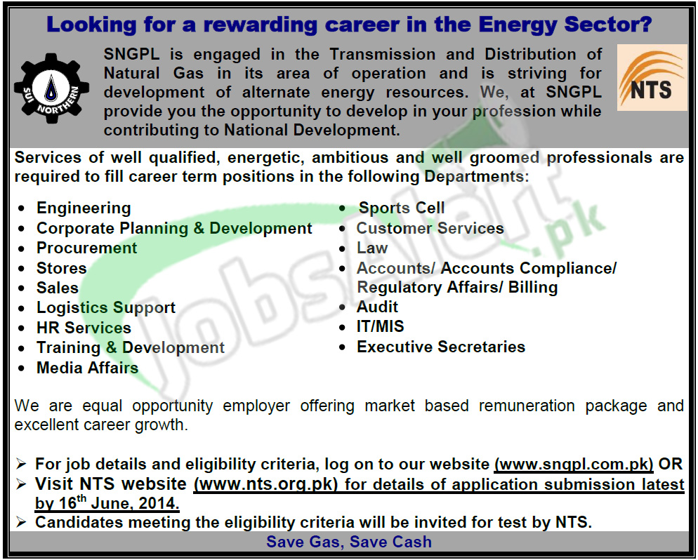Sui Northern Gas Pipelines Limited (SNGPL) Jobs 2014 NTS Test