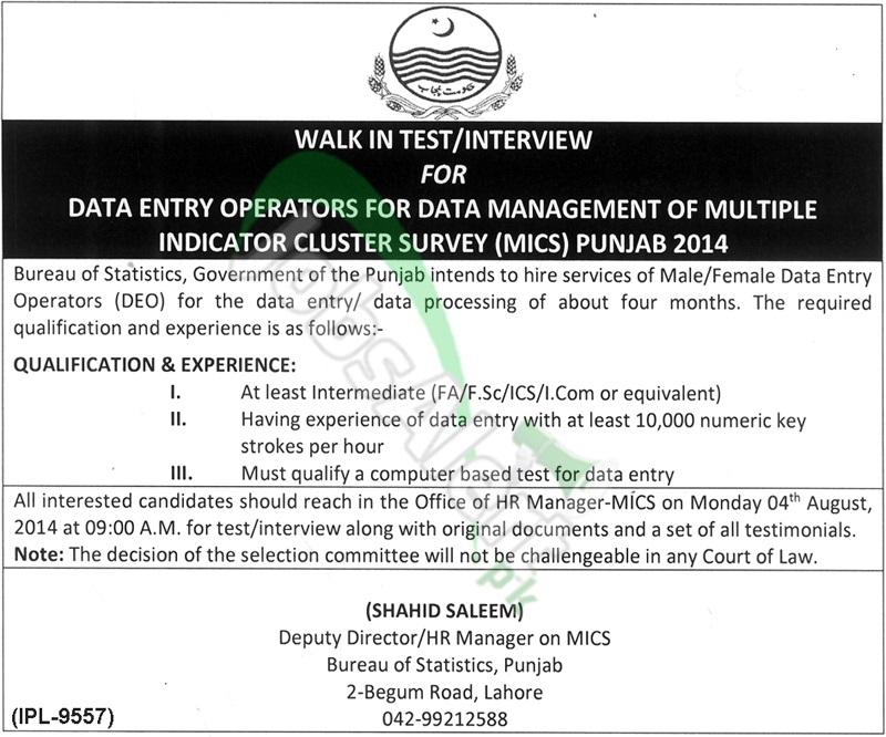 Bureau of Statistics Punjab Lahore