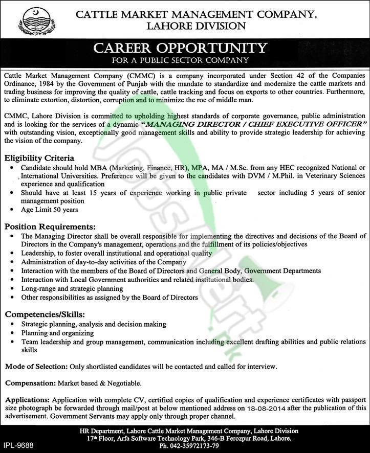 Cattle Market Management Company (CMMC) Lahore