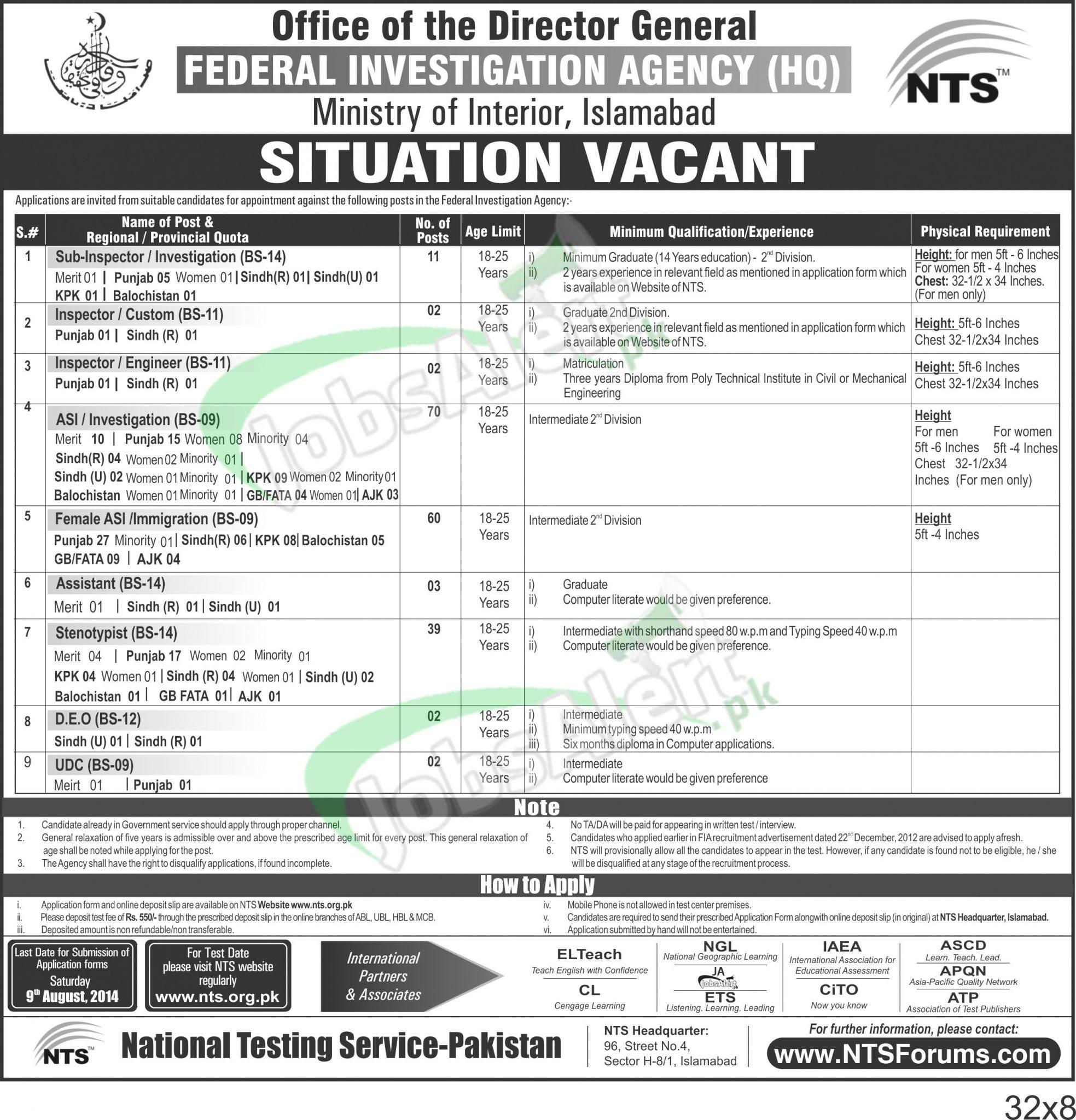 Federal Investigation Agency (FIA) Jobs 2014 NTS Form