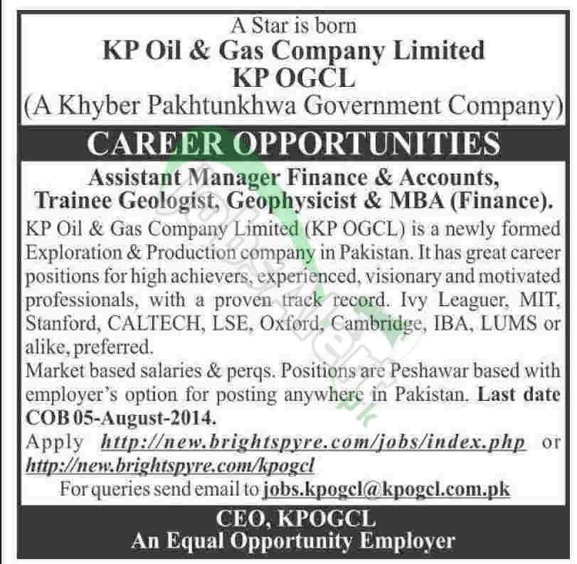 KP Oil & Gas Company Ltd (OGCL) Peshawar