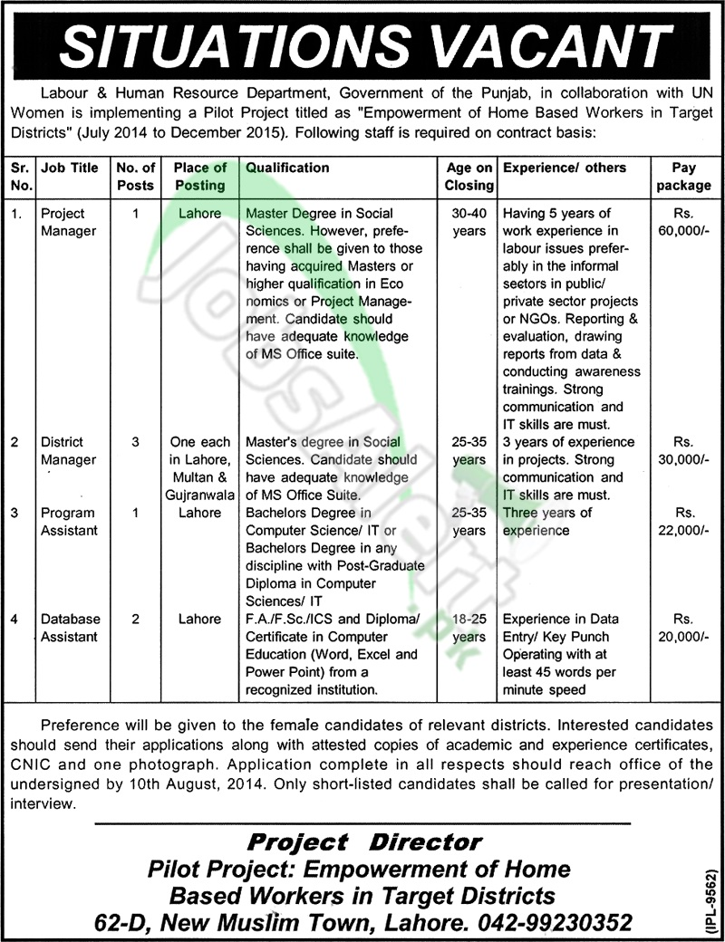 Labour & Human Resource Department Punjab Lahore