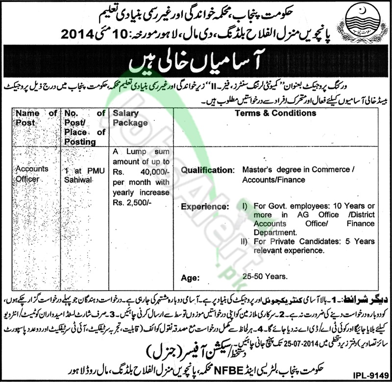 Literacy & Non Formal Basic Education Department Lahore