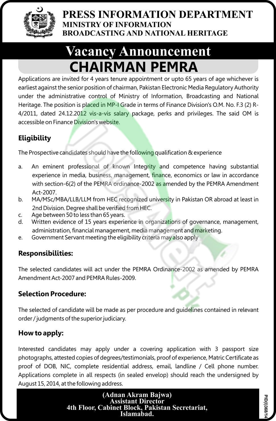 Ministry of Information & Broadcasting Islamabad