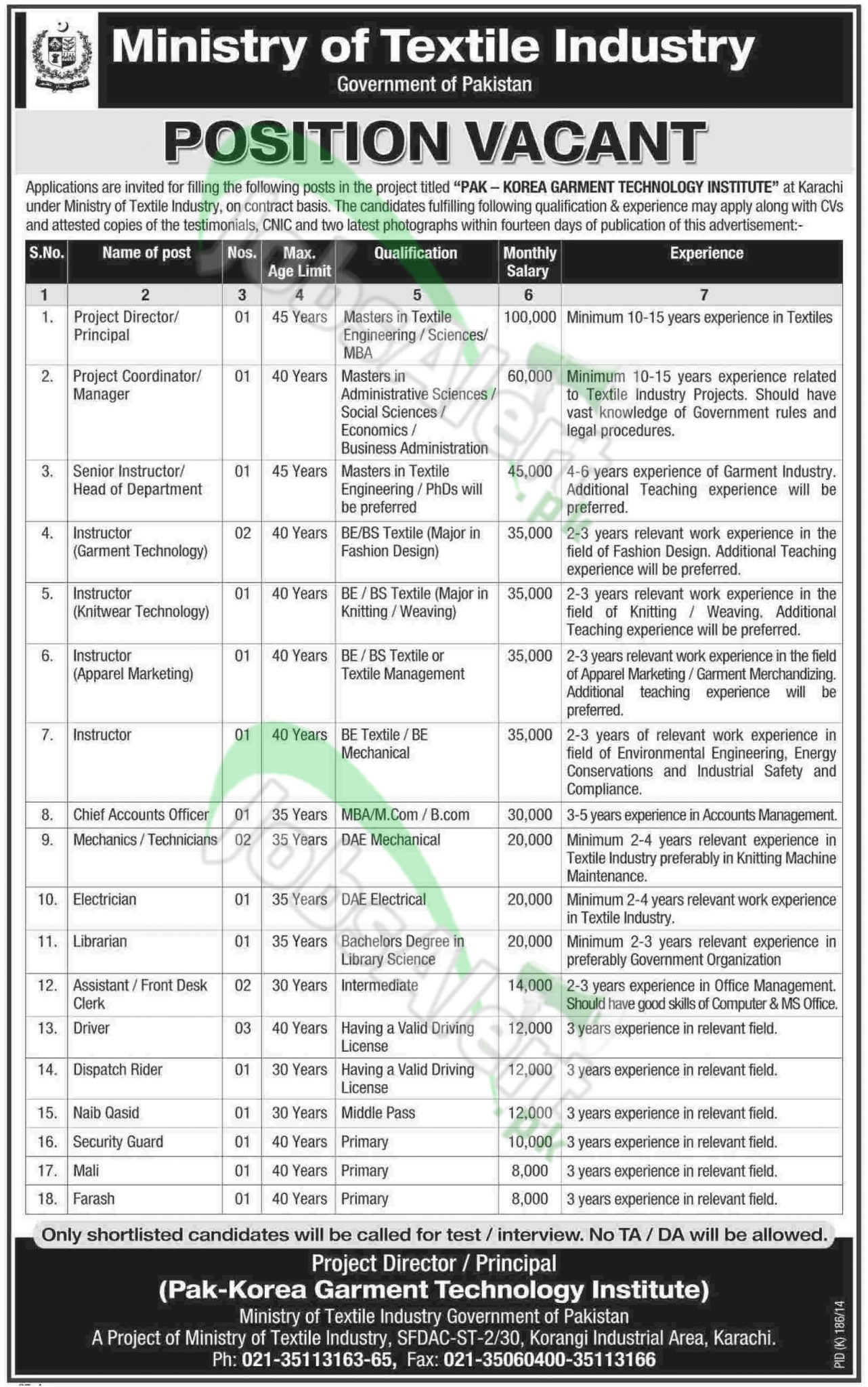 Ministry of Textile Industry Karachi