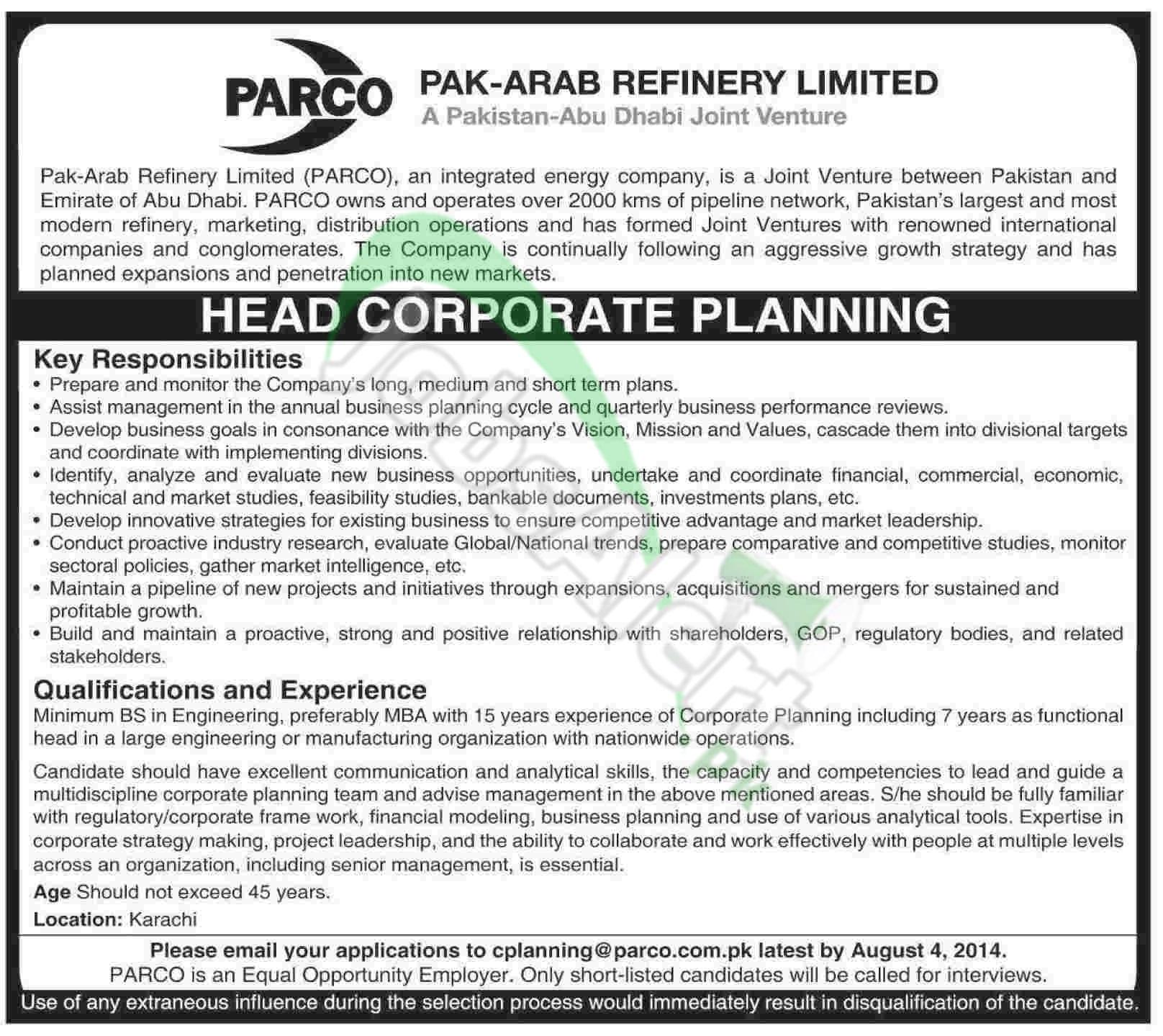 Pak Arab Refinery Limited (PARCO), Pakistan