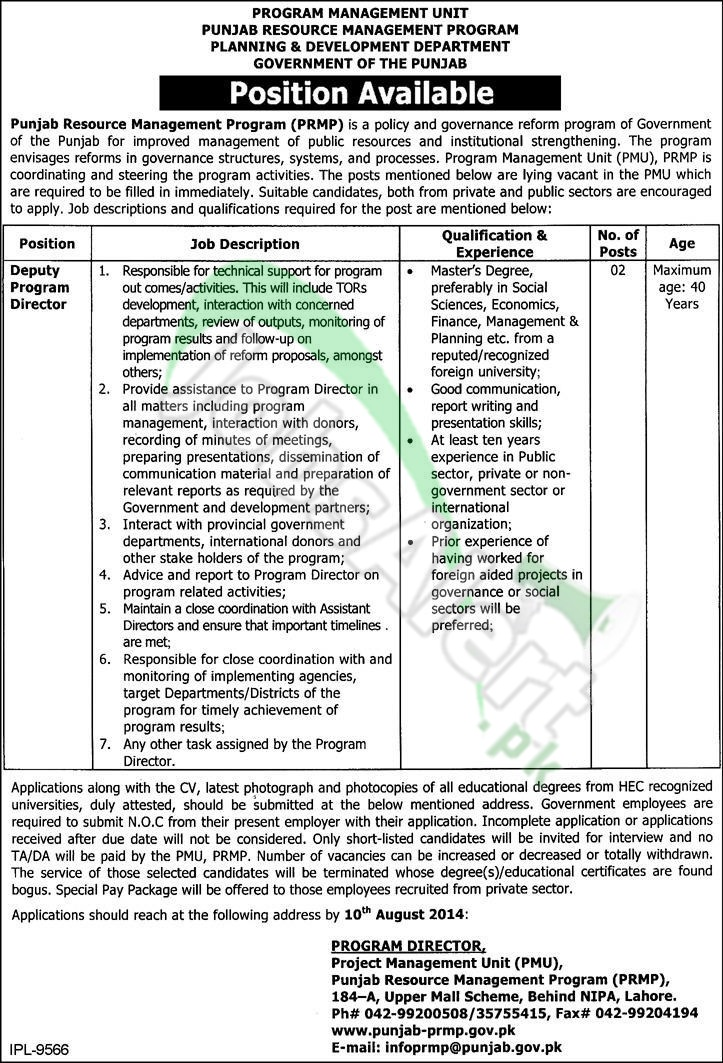 Planning & Development Department Punjab Lahore