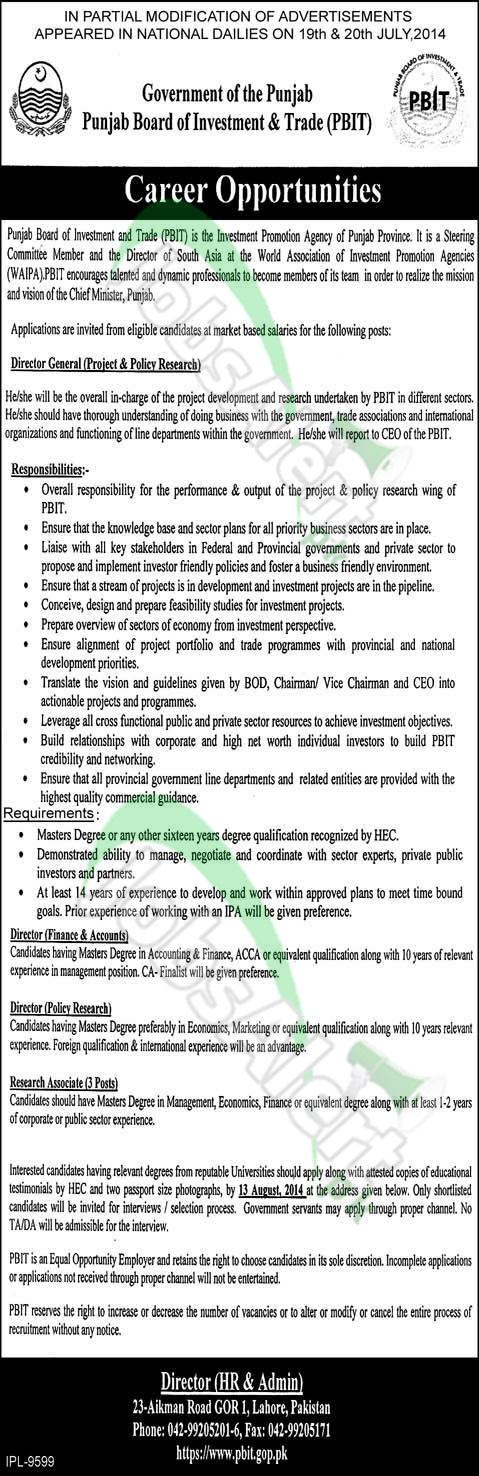 Punjab Board of Investment & Trade (PBIT) Lahore