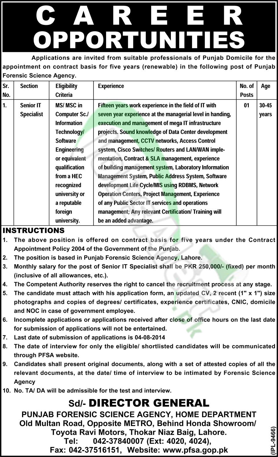 Punjab Forensic Science Agency (PFSA) Lahore
