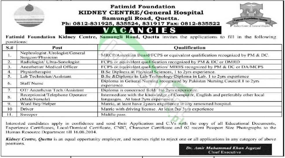 Fatimid Foundation Kidney Centre Quetta