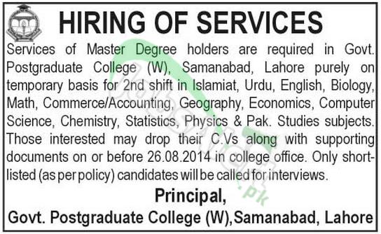 Govt Postgraduate College for Women Lahore