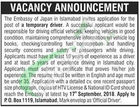Japan Embassy Islamabad Jobs