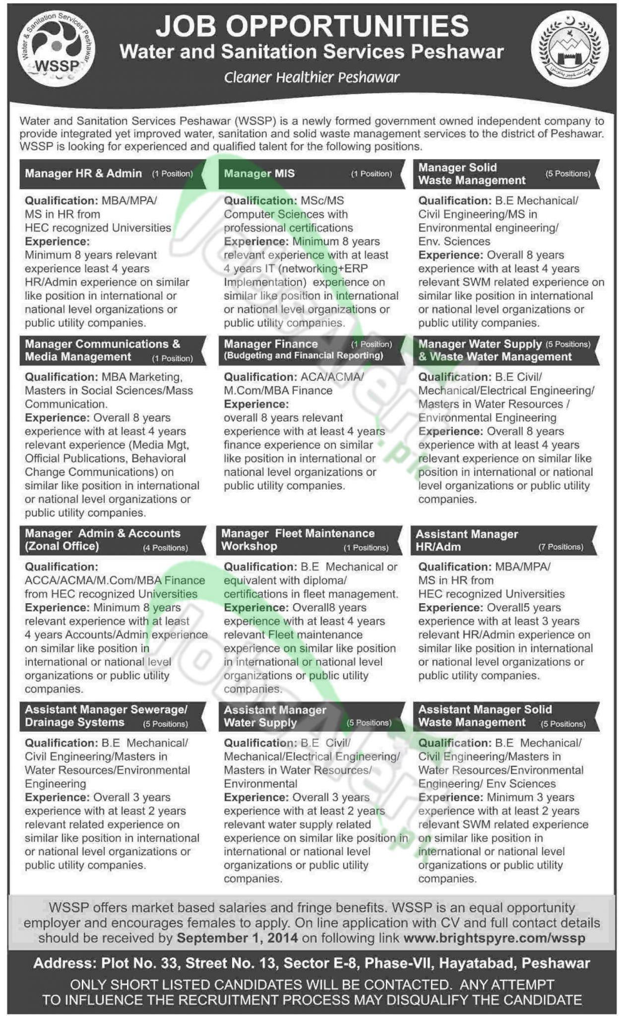 Water & Sanitation Services Peshawar (WSSP) KPK