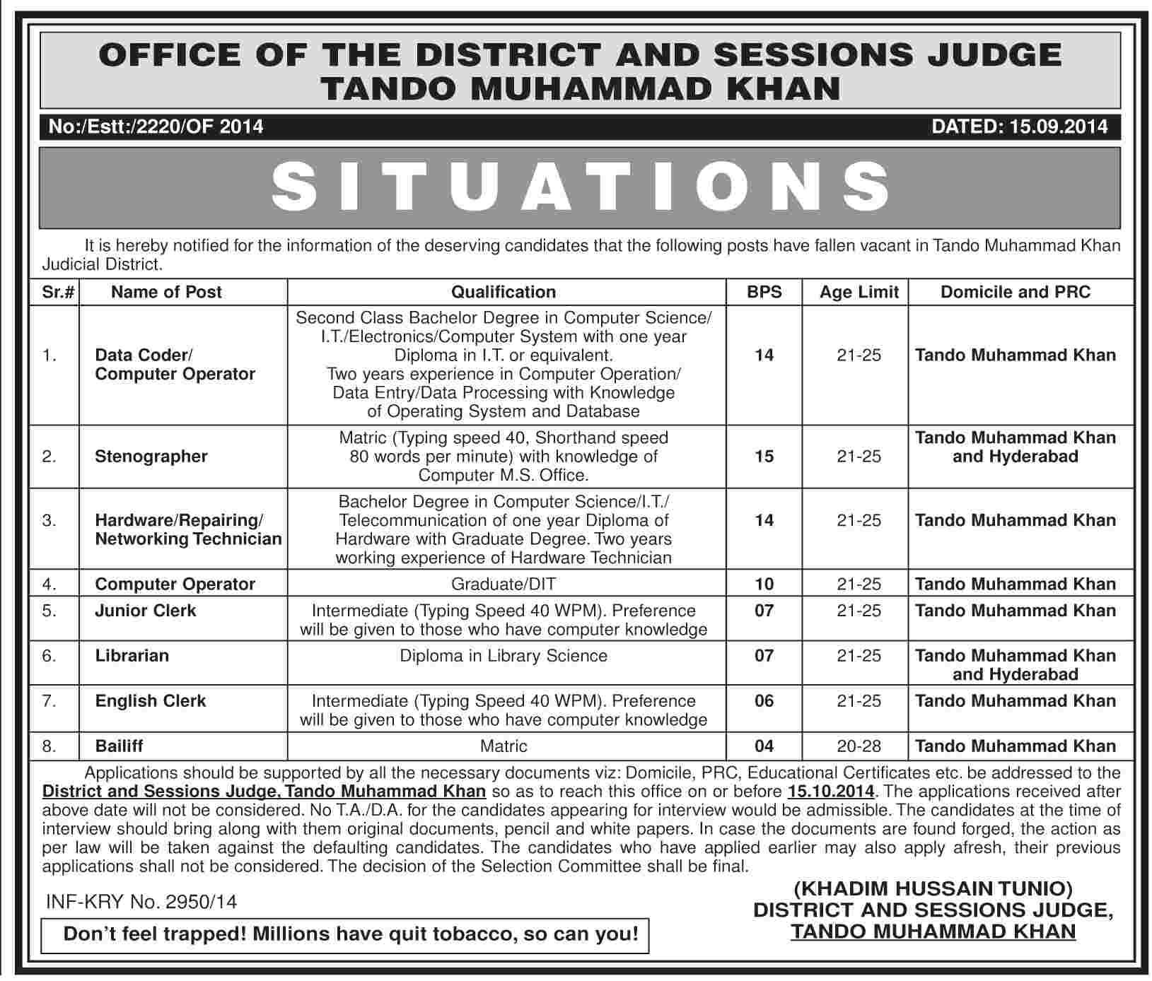 District & Session Court Tando Muhammad Khan