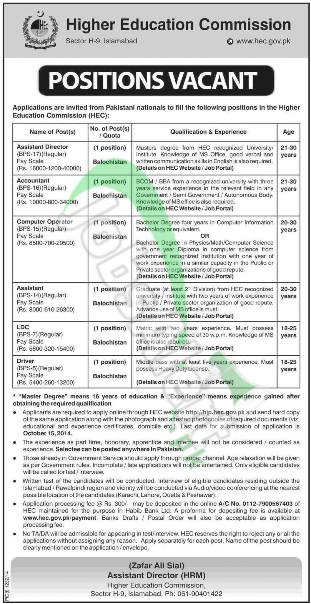 hec jobs govt of bps to bps apply online