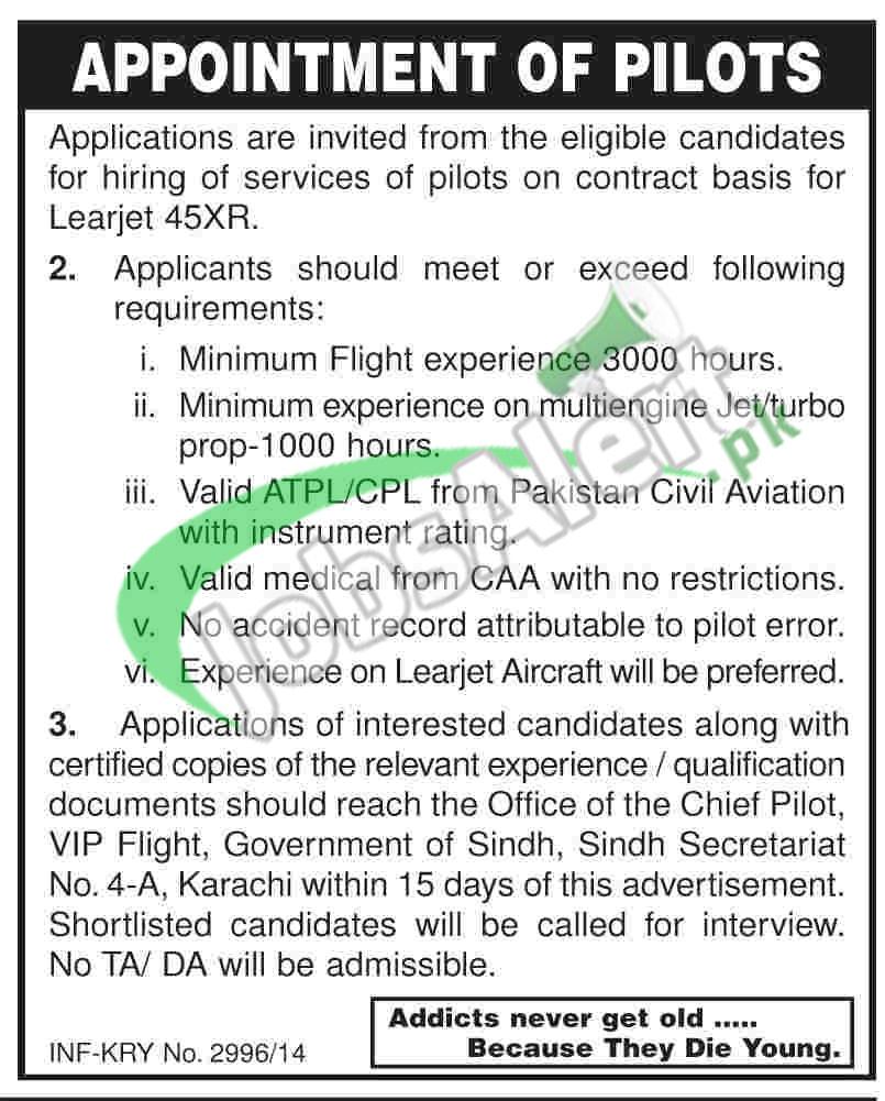 Jobs for Pilots 2014 in Karachi Airport