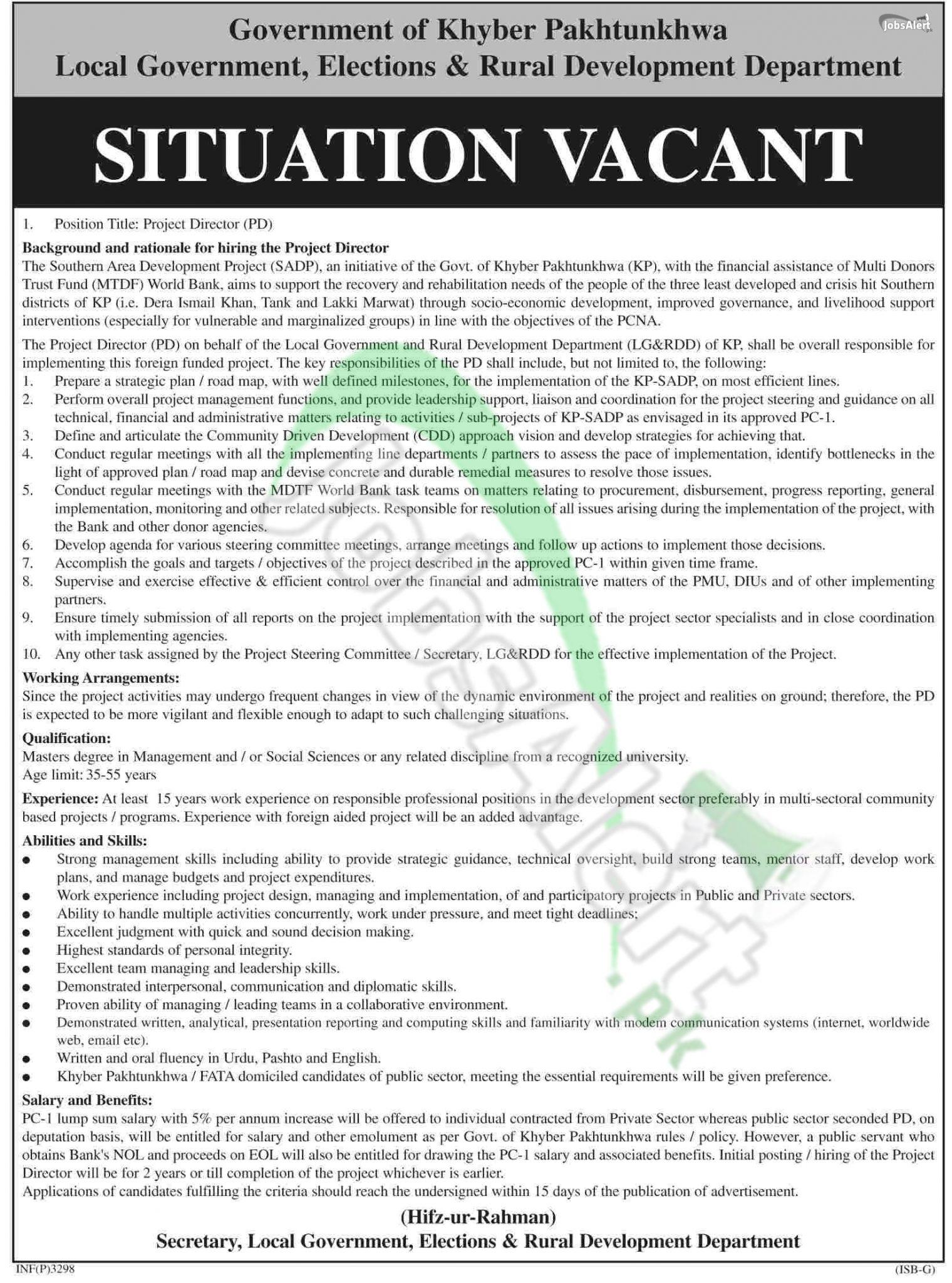 Local Govt, Elections & Rural Development Deptt KPK