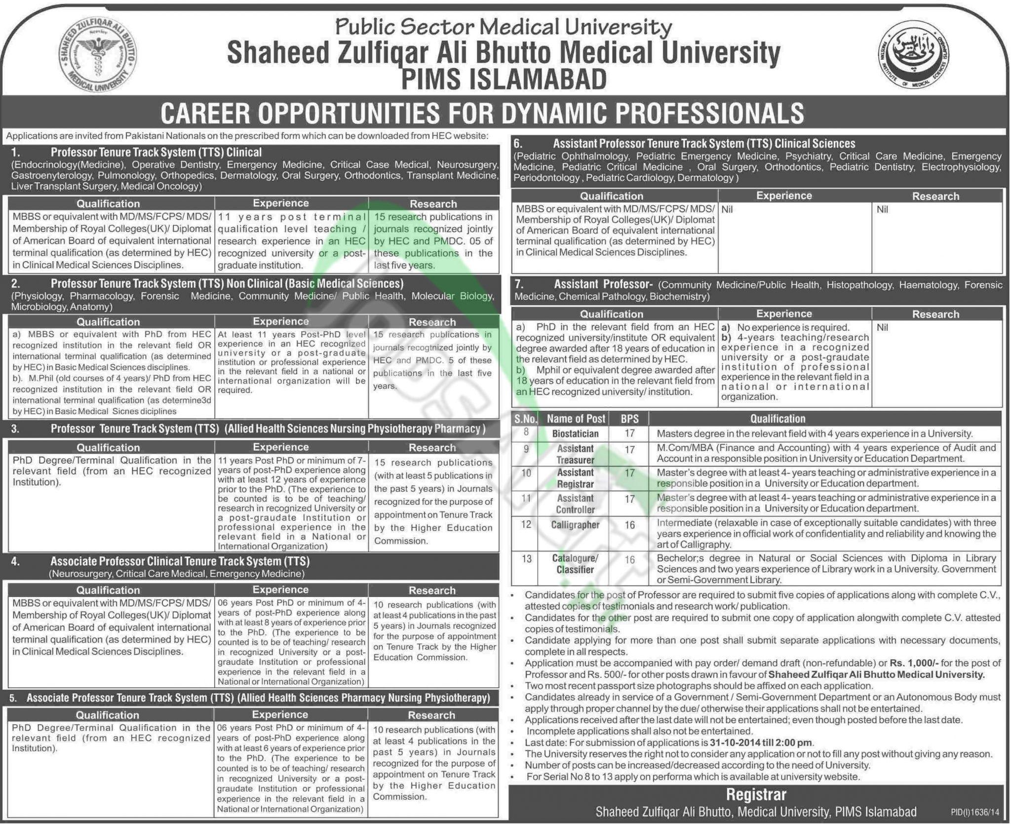 Shaheed Zulfiqar Bhutto Medical University and PIMS Islamabad