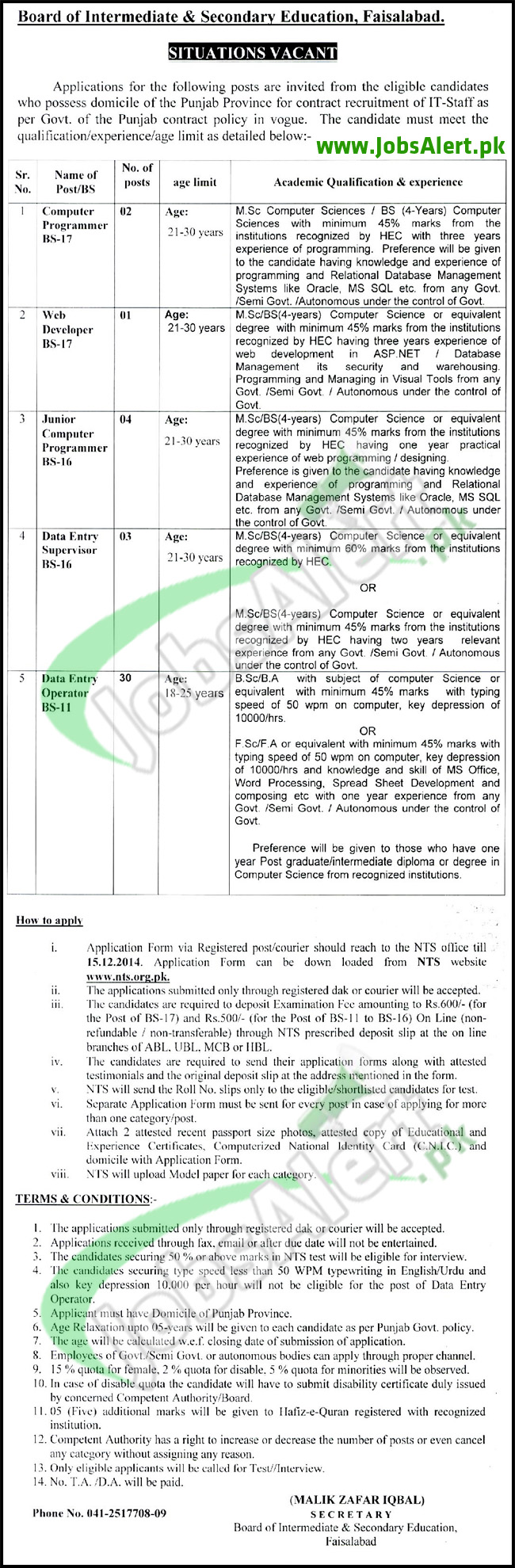 BISE Faisalabad Board Jobs 2014 BS-17 to BS-11 Male & Female NTS Form