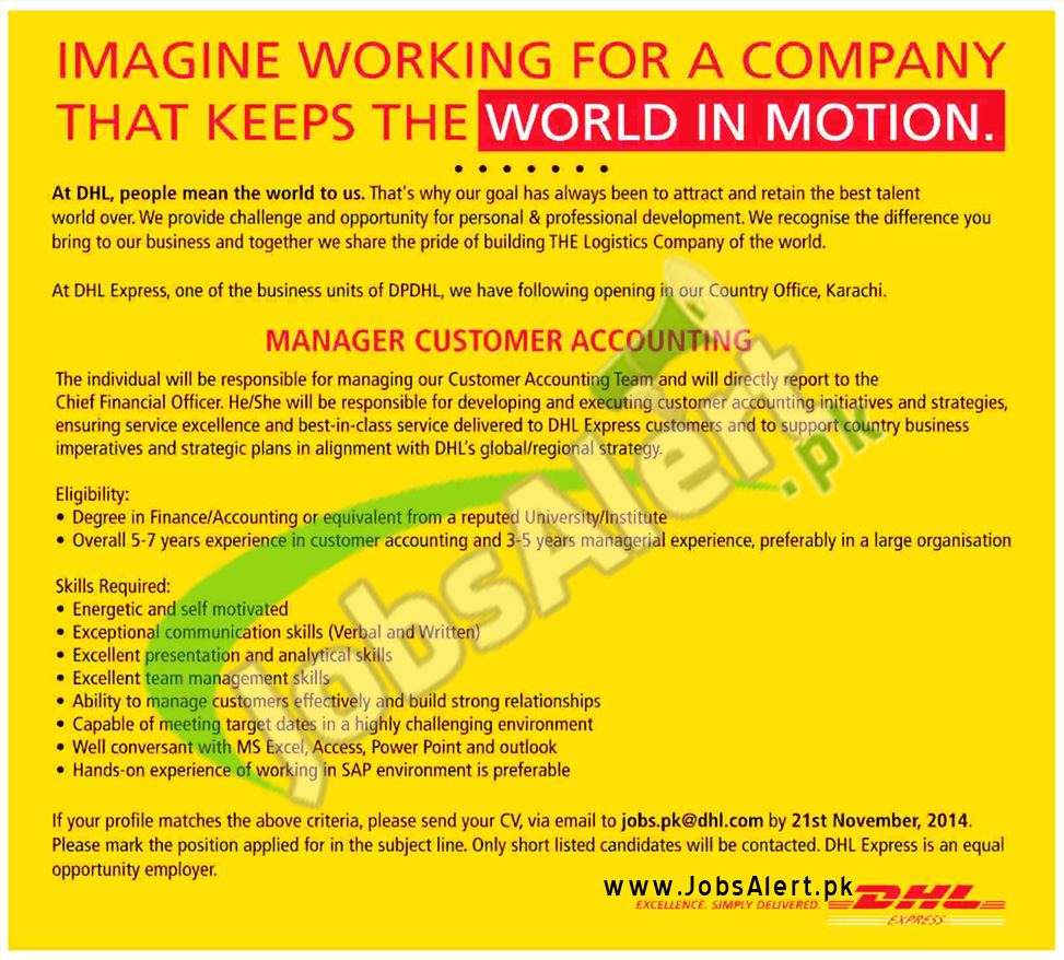 DHL Pakistan Jobs 2014 for Manager Customer Accounting Apply Online