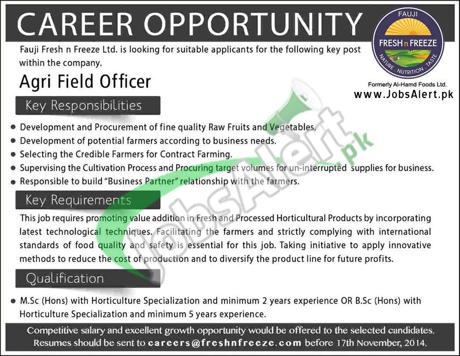 Fauji Fresh N Freeze ltd. Jobs 2014 for Agri Field Officer Pakistan