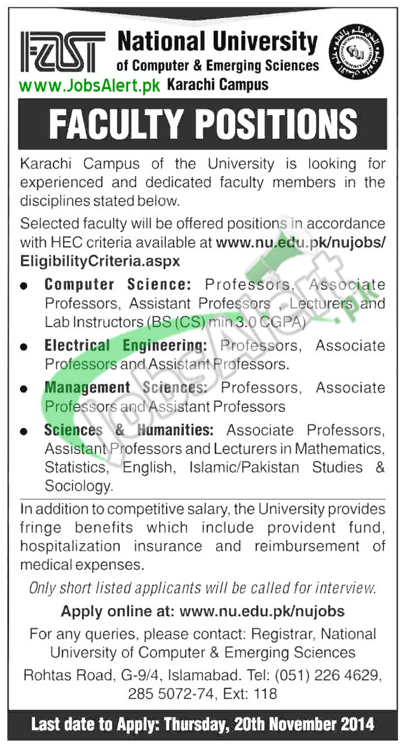 Jobs in FAST National University 2014 for Faculty Positions