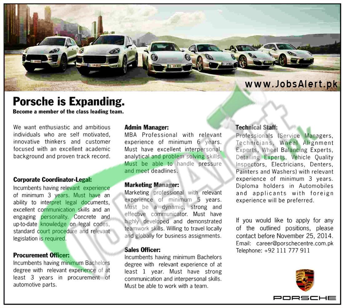 Jobs in Porsche Pakistan 2014 Coordinator, Admin & Marketing Manager
